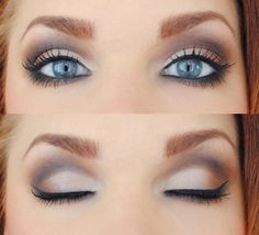 his really does make blue eyes pop, I have worn this look before. Use a good highlight all over inner lid, grey in the crease, and brown on the outter lid. Make sure to use a really dark black liner too and make your lashes look as long as you can! It is also really pretty with falsies, but make sure to use a wing-tipped pair