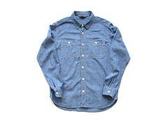 Vintage POPEYE shirt jean chambray blue Motorcycle top Unisex button down size ML