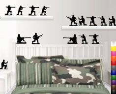 Amazon.com: StikEez Black Military Army Men 15-Pack Various Fun Wall & Window Decals: Home & Kitchen