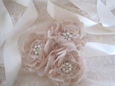 Bridal Ribbon Sash Three Flower Champagne and Ivory with Pearl and Rhinestone Accents Choose Your Colors