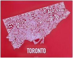 Typography city maps:Toronto