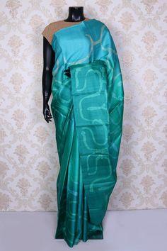 Sea blue & sea green pure tussar silk saree with printed pallu -SR14935 #printedsaree #tussarsilk #classy
