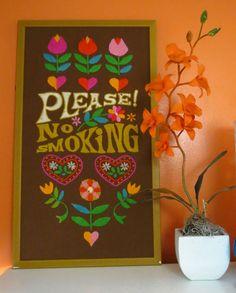 VTG 1970s Retro MOD Groovy Please No Smoking Flower Power Crewel Wall Art 1960s