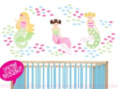 Mermaid Wall Decal - Sealife Fish Decals - Mermaid Bathroom Decor- Reusable Peel 'n Stick - Summer Beach Decals for Girls - Mermaid Theme by ToodlesDecalStudio on Etsy