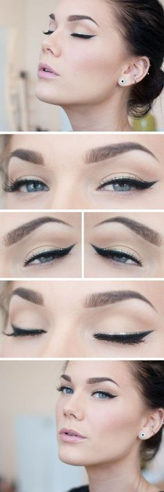 classy winged eye liner with a subtle silver lining