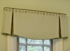 Box pleat valance with contrast welt and nails Valance Window Treatments, Kitchen Window Treatments, Custom Window Treatments, Window Coverings, Window Valances, Box Pleat Valance, Box Pleats, Custom Curtains, Drapes Curtains