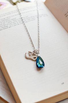 Silver Om Necklace,Peacock Blue Swarovski Drop Pendant,Yoga Jewelry,Ohm Charm Necklace,Blue Necklace,Om Symbol Necklace with Crystal,Spiritual Necklace,Zen Jewelry