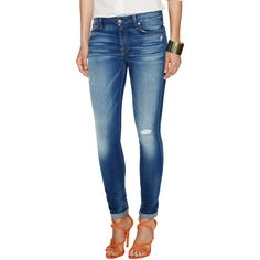 7 for All Mankind High Rise Distressed Super Skinny Jean ($109) ❤ liked on Polyvore featuring jeans, blue, ripped skinny jeans, blue jeans, high waisted distressed jeans, zipper skinny jeans and ripped jeans