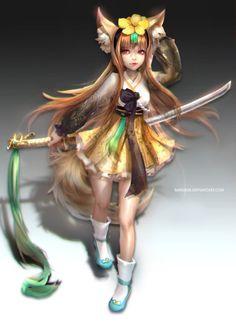 :: Fox girl Hanbok Outfit Design :: by Sangrde on DeviantArt