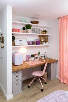 Kate - Jason Nash Surprises Teen Kids with Bedroom Makeovers! Teen Bedroom Designs, Room Design Bedroom, Bedroom Decor For Teen Girls, Cute Bedroom Ideas, Cute Room Decor, Teen Room Decor, Small Room Bedroom, Room Ideas Bedroom, Home Room Design