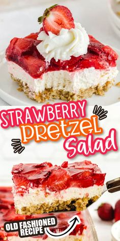 This strawberry pretzel salad is an old fashioned dessert that never gets old! From the sweet and salty pretzel crust to the layers of cream cheese and strawberry jello, it's a creamy and delicious dessert dish that is perfect for any potluck or party! Ingredients include gelatin, fresh strawberries (frozen okay too), cream cheese, vanilla, sugar, crushed pretzels and more! Pretzel Desserts, Jello Desserts, Jello Recipes, Easy Desserts, Delicious Desserts, Yummy Food, Cookie Desserts, Summer Desserts, Deserts