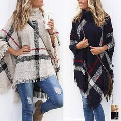 """Elevate your casual cold-weather outfit with this showstopping poncho in a classic plaid print that never goes out of style. Its turtleneck collaradds a touch of sleekness without sacrificing the relaxed fit you love in a poncho. Throw it on over a solid pant and boots for the perfect pop of pattern.Material: Wool, AcrylicCare instructions: Machine wash gentle, tumble dry lowSizing: One Size. Bust: No limit, Length: Up to 32"""""""