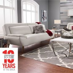 The midcentury-inspired Roxy leather look sofa by Cindy Crawford Home. Add some glam with luxe accessories or take a modern spin with clean lines and punchy accents. And since we're celebrating 10 years of Cindy Crawford Home at The Brick, you can get the look for way less than you thought.