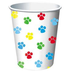 multicolored Paw Print party cup