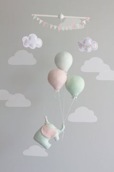 Balloon baby mobile, elephant travel theme nursery decor in mint pink and gray. A little traveling elephant floating too far away adventures hanging onto 3 little balloons. A perfect addition to your travel or circus theme nursery décor. Baby Bedroom, Nursery Room, Girl Nursery, Girl Room, Nursery Bedding, Travel Theme Nursery, Nursery Themes, Nursery Decor, Nursery Colours