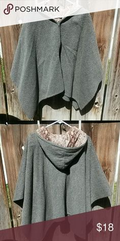 Handmade wool cape Hand sewn front zipper grey wool cape with hood. Inside lined with brown snake skin print Jackets & Coats