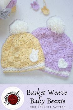 Basket Weave Baby Beanie Free Crochet Pattern The Basket Weave Beanie is here and it is absolutely adorable The free crochet pattern is available for sizes 03 months and. Easter Crochet, Crochet Baby Hats, Crochet Beanie, Crochet For Kids, Baby Knitting, Free Crochet, Irish Crochet, Simply Crochet, Crocheted Hats