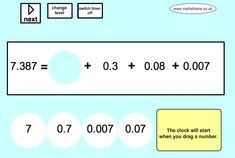 Partition numbers into their simplest forms. Choice of whole numbers and decimals. Integers, Place Values