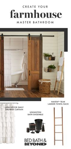 Rustic Charm, Natural Touches And A Lived-In Feel: Transform Your Bathroom Into A Farmhouse Master In Just One Weekend With Help From Bed Bath and Beyond Tap The Pin And Get Started. Home, House Design, Bathroom Redo, House Bathroom, Home Remodeling, Bathrooms Remodel, New Homes, Farmhouse Master Bathroom, Bathroom Design