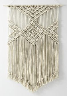 LARGE Macrame wall hanging color of natural cotton 100% handmade 100% natural cotton cord Size: wooden stick: 76 cm (30'') length of woven – from top of wood to bottom of fringe: 115 cm (45,3'') We ship WORLDWIDE! Shipping to Europe normally takes 5-8 working days, to US, Canada – 7-15