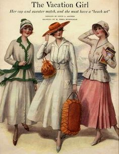 1916 Fashion Plate. I could not resist this pic- for a day on the seaside.