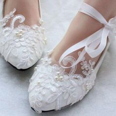 Lace Pearls Women Wedding Shoes With Ribbons Lace Up Ladies Party/Dress Shoes Po. , Lace Pearls Women Wedding Shoes With Ribbons Lace Up Ladies Party/Dress Shoes Po. High Heels Boots, Lace Heels, Low Heel Shoes, White Lace Flats, White Dress, Silver Wedding Shoes, Wedding Boots, Sandals Wedding, Pearl And Lace
