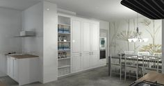 Proyecto de cocina en 3D en la que el papel de la pared es uno de los focos principales. Los tonos blancos dan luminosidad y aportan un aire de paz y armonía a todo el conjunto.