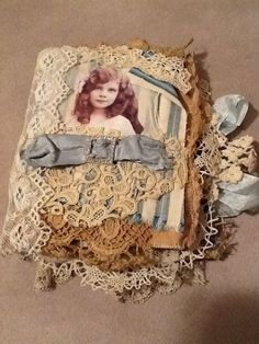 OOAK Mixed Media fabric canvas lace collage book album journal of vintage girls #Shabby