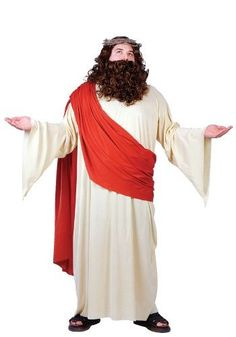 About Costume Shop Plus Size Jesus Costume - Robe w/ shoulder drapeCrown of thornsWig and beard set Robe w/ shoulder drape Crown of thorns Wig and beard set Page Biblical Costumes, Adult Costumes, Costumes For Women, Family Costumes, Jesus Costume, Joseph Costume, Fancy Dress Plus Size, Plus Size Dresses, King Costume