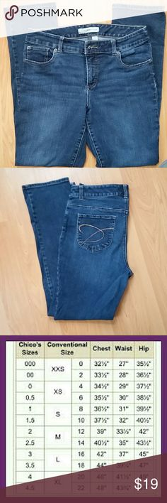 Chico's Platinum Denim skinny jeans! Medium wash stretchy Chico's skinny jeans.  Cotton and spandex mix and machine washable.  Truly figure flattering.  In excellent condition! Chico's Jeans Skinny