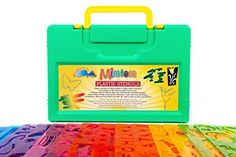 Mimtom Drawing Stencils for Kids - More Than 370 Shapes - 20 Piece Plastic Stencil Set in Case - Draw Letters Alphabets Numbers Animals Butterflies Flowers Cars Among Others