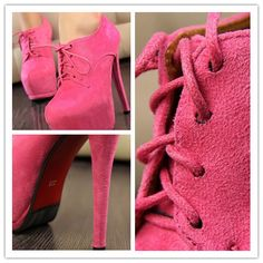 Fashion Simple Suede Stiletto Heels Ultra with Waterproof Platform Strappy Sexy Shoes(Magenta)