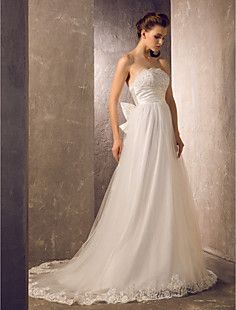 A-line Strapless Sweep/Brush Train Tulle And Charmeuse Weddi... – USD $ 199.99