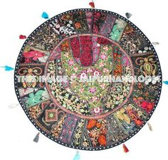 Vintage Floral Embroidered Round Cushion Cover Throw Bohemian Floor Decor Patchwork Pillow Cover Decorative Cushion Meditation Pillow US – Floor Pillow Large Floor Pillows, Round Floor Pillow, Floor Cushions, Floor Pouf, Handmade Cushions, Decorative Cushions, Ikea Pouf, Indian Seating, Meditation Pillow