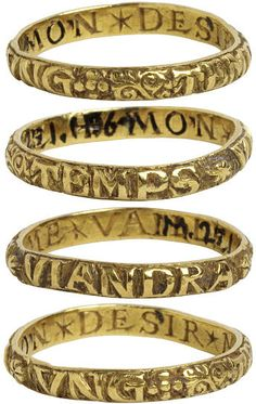 Woman's gold 'poesy' ring inscribed: ung temps viandra (a time will come) - mon desir me vaille (my longing keeps me awake). Courtesy of the V & A Museum. Jewelry Art, Jewelry Rings, Jewelery, Jewelry Accessories, Fine Jewelry, Jewelry Design, Jewelry Making, Gold Jewelry, Opal Jewelry