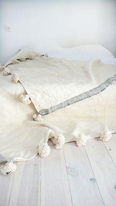 Moroccan POM POM Wool Blanket Ecru and lateral stripe Grey