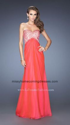 757ee2146be Red La Femme 20169 High Waisted A-line Empire Chiffon Prom Gown Homecoming  Dresses 2014