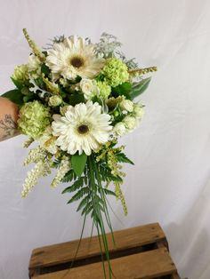 White and green small cascading wedding bouquet. Designed by Florist ilene, Hamilton, NZ Cascading Wedding Bouquets, Flowers Delivered, Corsage, Gift Baskets, Hamilton, Beautiful Flowers, Great Gifts, Wedding Ideas, Table Decorations