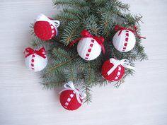 6 Christmas Crochet Balls, ООАК Christmas Decoration, Shatterproof  White Red Christmas Ornaments on Etsy, £22.71