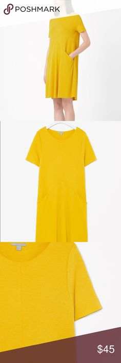 COS: Sunshine Girl Aline Jersey Dress Raw edge jersey dress Comfy and elegant aline design  Cos a relaxed, everyday style, this dress is made from soft jersey with a slight stretch. An A-line shape that is designed to hang loosely on the body, it has clean raw-cut edges, a front seam detail and draped front pockets.  78% Viscose/20% Polyester/2% Elastane/Wash on the delicate cycle in your washing machine/Product no. 0218212005/Imported  Like new✨ COS Dresses