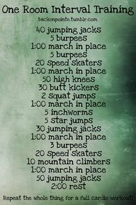 High Intensity Interval Training in the comfort of your home! Do the entire thing twice through