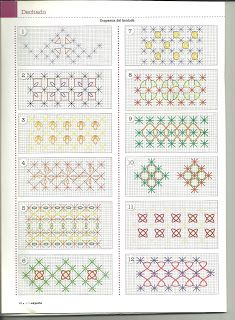Hardanger Embroidery Tutorial Mila Artes Manuales lot of chicken scratch patterns (suisse embroidery) Swedish Embroidery, Blackwork Embroidery, Embroidery Applique, Cross Stitch Embroidery, Embroidery Patterns, Chicken Scratch Patterns, Chicken Scratch Embroidery, Cross Stitch Borders, Cross Stitching