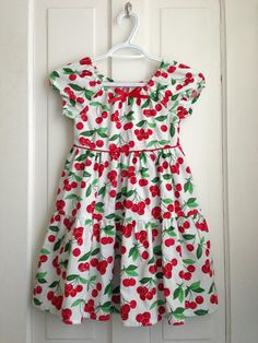 Size 6 Red Cherries Peasant Dress by DoloresAndCompany on Etsy, $38.00