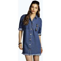 Boohoo Blue Jade Denim Fringed Shirt Dress ($35) ❤ liked on Polyvore featuring dresses, indigo, shirt dress, blue collared dress, long shirt dress, blue dress and 3/4 sleeve dress