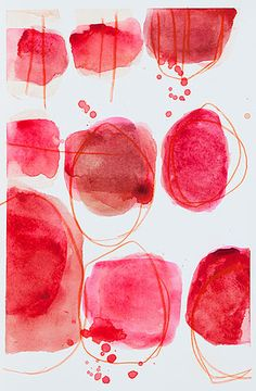 Thérèse Murdza (spring - Abstract watercolor circles in red. Abstract Watercolor, Abstract Art, Abstract Paintings, Oil Paintings, Landscape Paintings, Art And Illustration, Illustrations, Guache, Mark Making