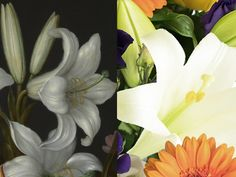 """White Oriental Lily - """"It was essential that the bouquet included scented Oriental Lily. Not only is it present in this wonderful painting, it is also a well-known symbol of purity and majesty. It's pure white blooms are certainly a notable contrast in colour and style and create a fabulous distinction from the louder, more colourful species."""" – Prestige Flowers #NGArtBouquet #Bouquet #Florist #Flowers #Art"""