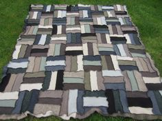 Browns greys and greens in this extra thick upcycled wool blanket  £125