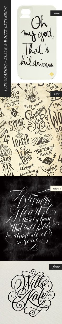 typo graphic, black and white lettering, by kelsey of pinegate road. Pinned mostly for the second one.