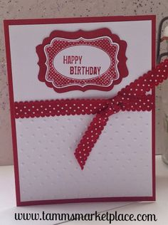Red Happy Birthday Card with Red Polka Dot Ribbon MKC027 – Tamm's Marketplace
