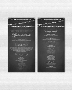 String Lights Set I - Printable Wedding Programs - Rustic Chalkboard and String Lights Wedding Ceremony Paper